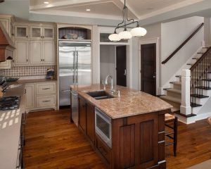 kitchen island with sinks and dishwasher