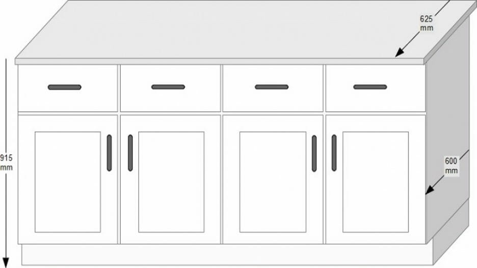 standard kitchen cabinet sizes chart