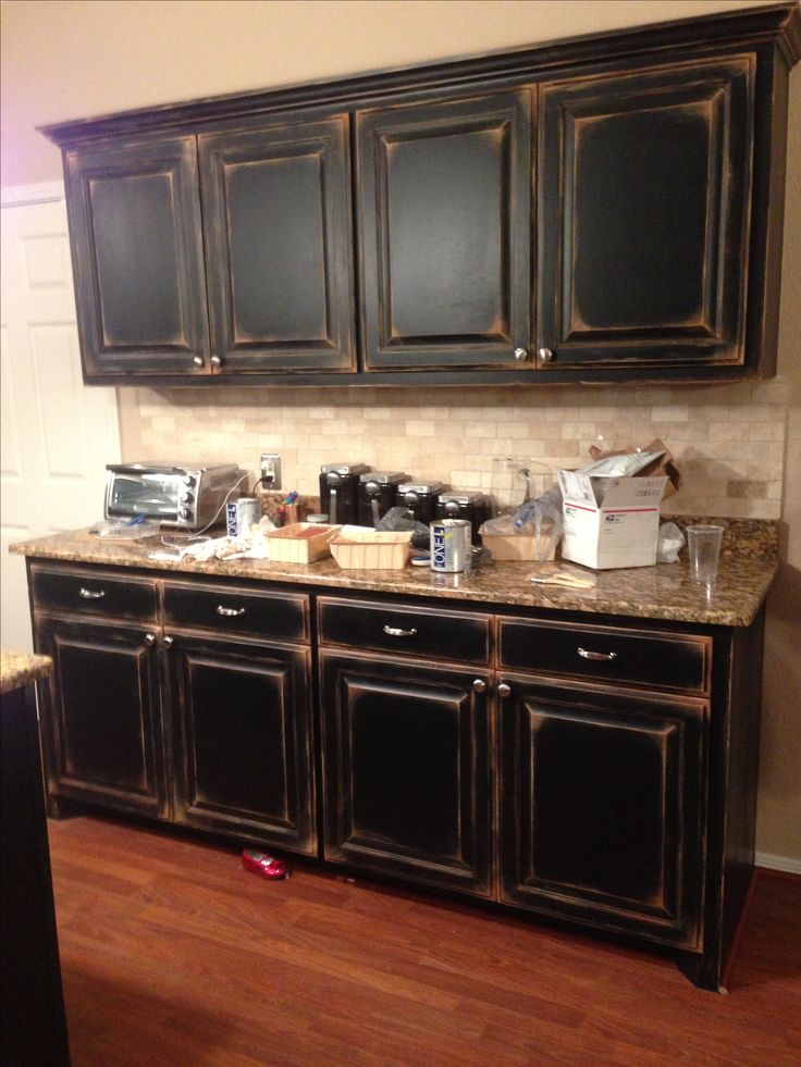 Black Kitchen Cabinet With Antique Buffet