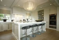 Crystal Chandelier Over Kitchen Island