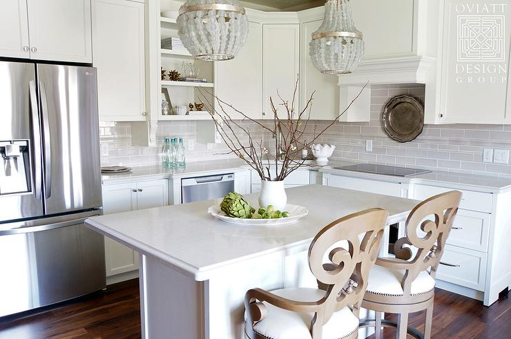 Crystal Chandelier Over small Kitchen Island