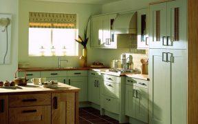 green kitchen's window cabinet