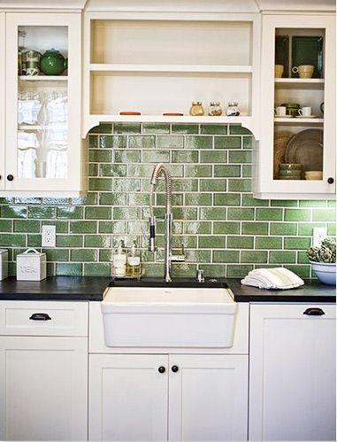 soft Green Vivid green tile backsplash