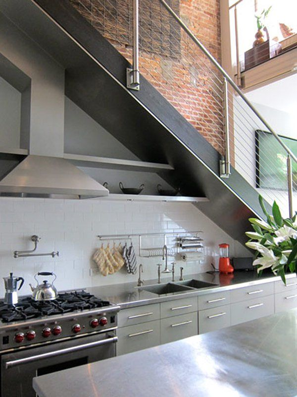 Half Kitchen Design Under Stairs