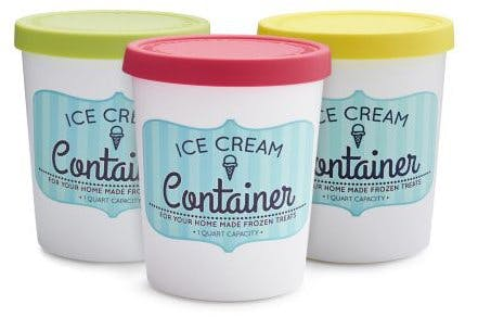 Ice cream container for storage