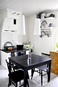 Small Kitchen Design with Dining Table Solution