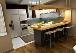 Small Kitchen Design with Minibar