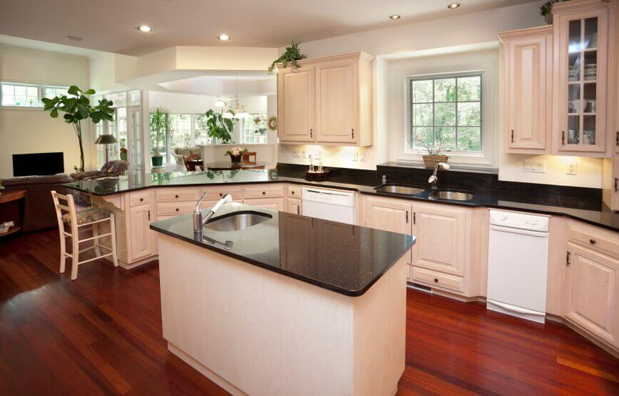 white cabinet kitchen with wooden floor kitchen