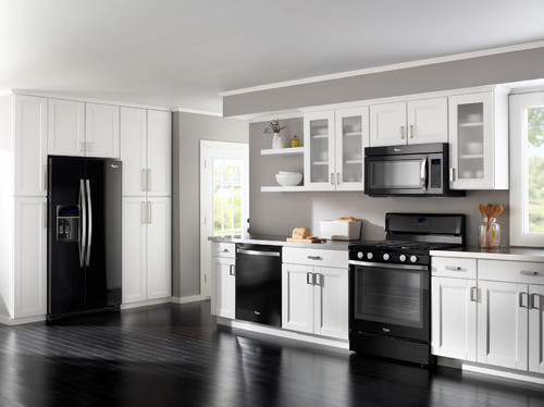 black floor and light gray wall kitchen
