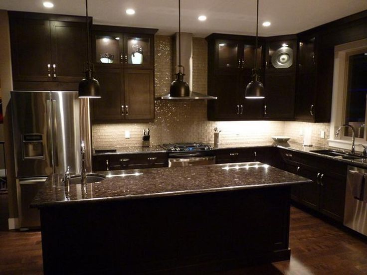 combination of the dark kitchen design