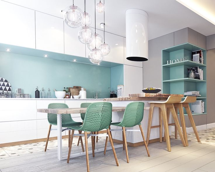 contemporary Small Kitchen Design with Dining Table