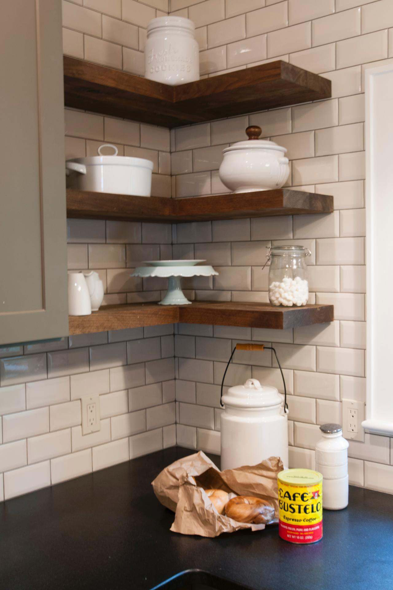 Liven the Kitchen: Floating Kitchen Interior Shelves