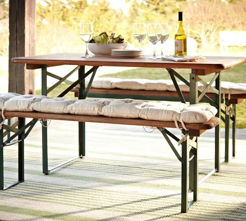 Metal Folding Table and Dining Bench Set