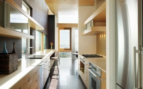 Modern Galley Kitchen.