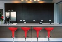 Oval red kitchen stool