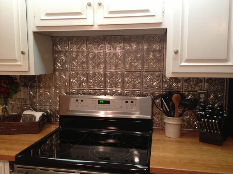 Tinned Kitchen backsplash