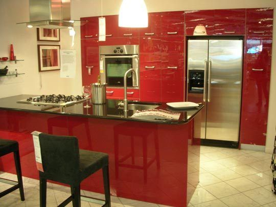 high gloss wine red tiny kitchen