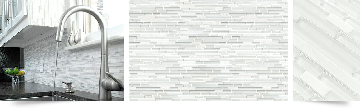 mosaic marble glass material to backsplash