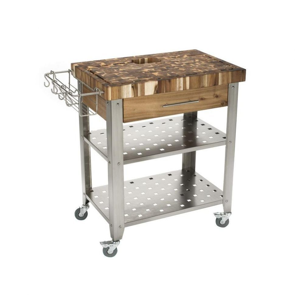small stainless-steel rolling table