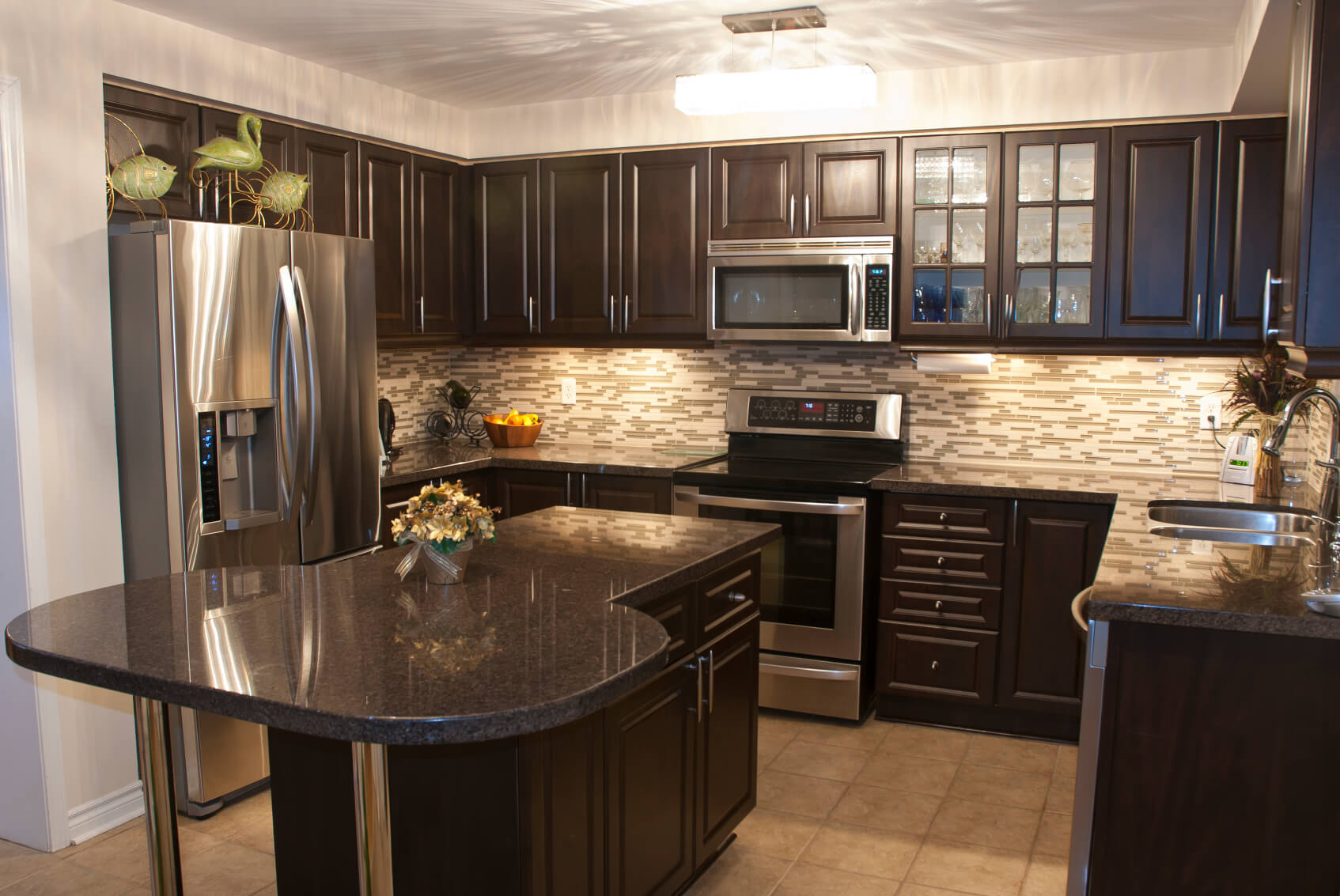 deep black colored kitchen cabinets