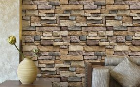 brick pattern wallpaper for kitchen