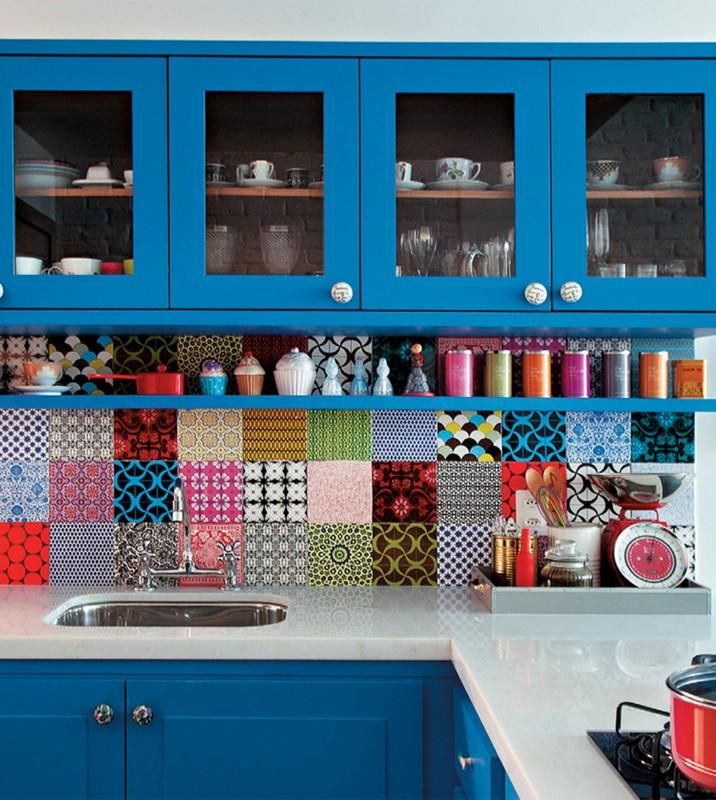 Blue Kitchen Design with patterned tiles backsplash