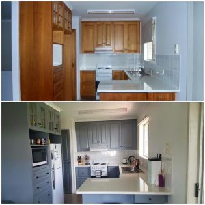 Kitchen painting before and after
