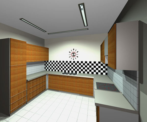 checkered pattern backsplash