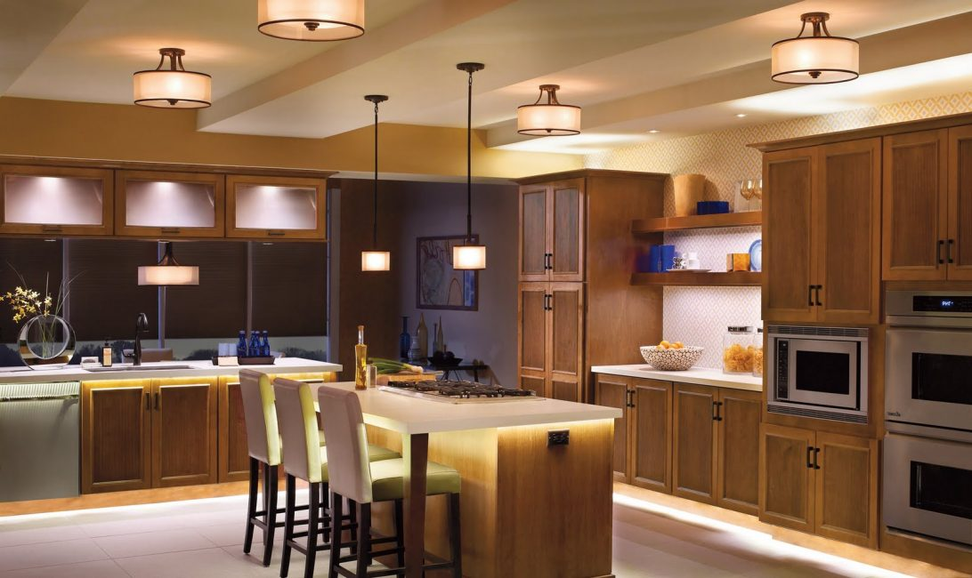 lighting fixtures for brown big kitchen