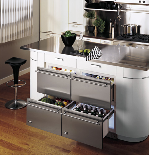 Kitchen Island Refrigerator Drawers