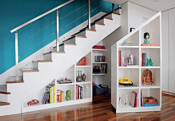 Open Bookcase under stairs