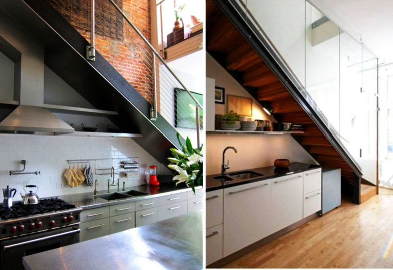 Subterranean kitchen Under Stairs