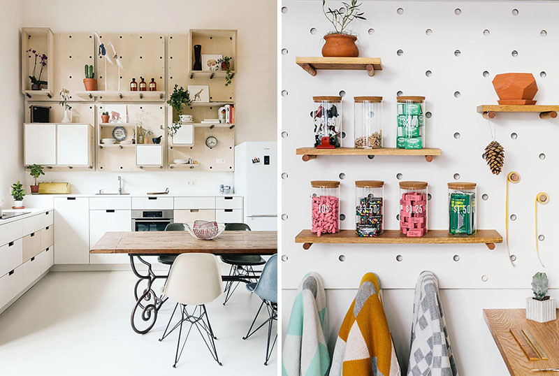 Pegboard with as many shelves
