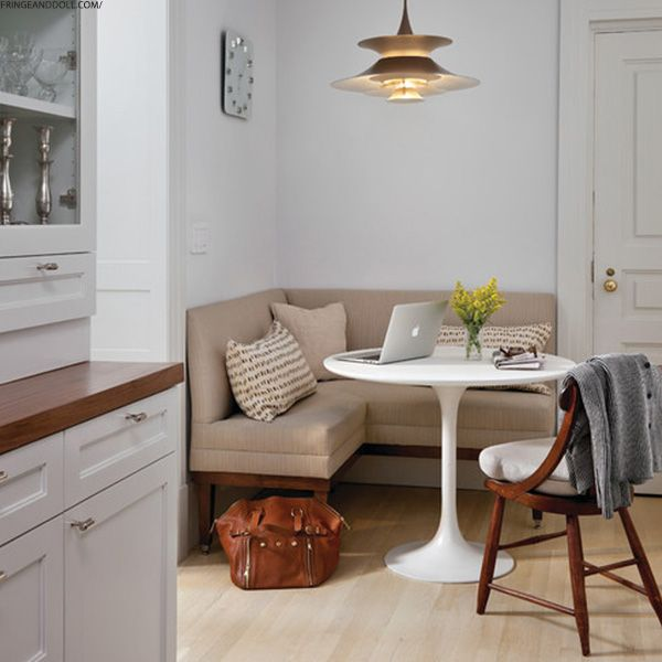 small table into a snug breakfast nook