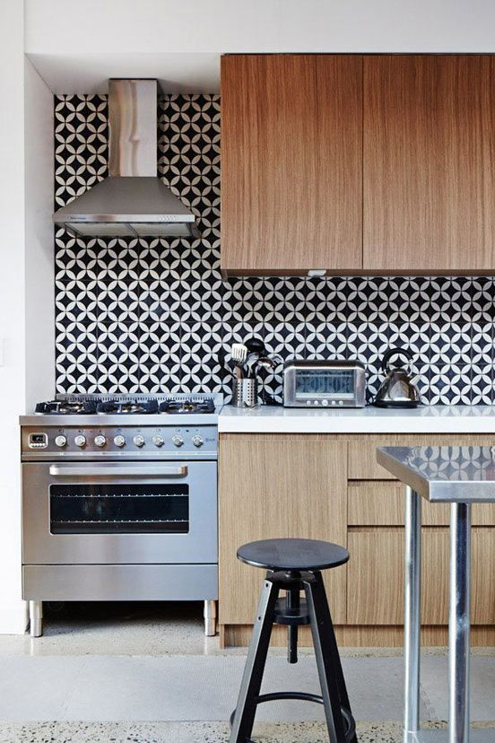 black and white kitchen geometric backsplash