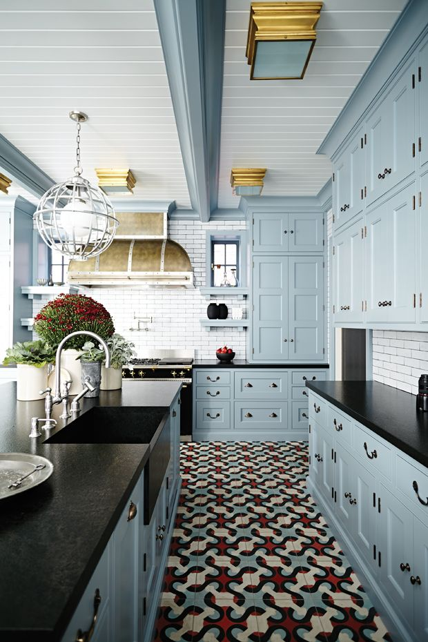 pastel blue hue kitchen cabinets