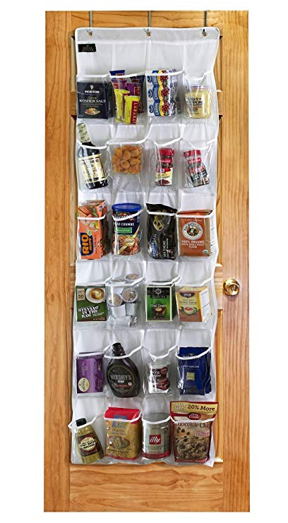 White Over The Door Pantry Organizer with 24 Pockets