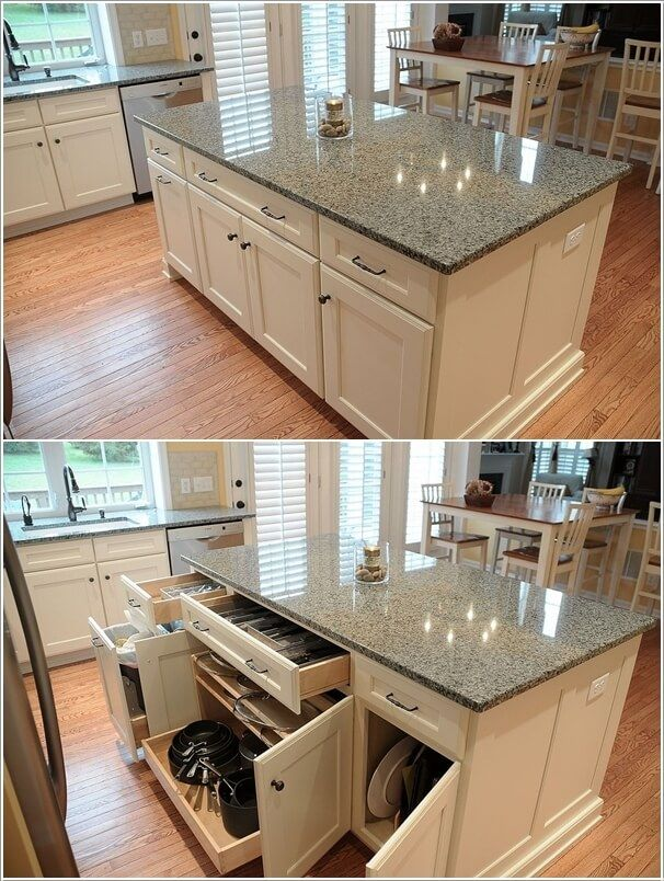 Kitchen Island with shelves and drawers