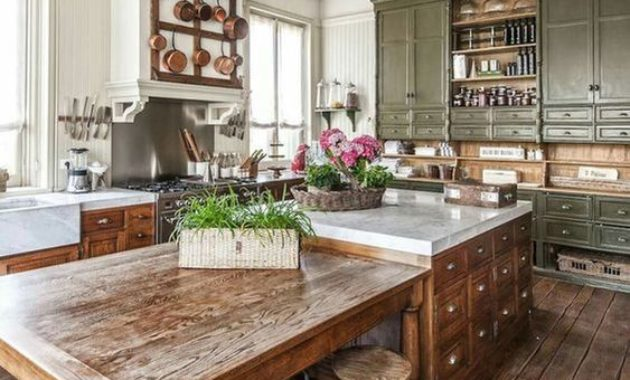 country-kitchen-brown-wooden-floor-classic-chair-green-grass-flower-vase-cabinet-ceiling-light