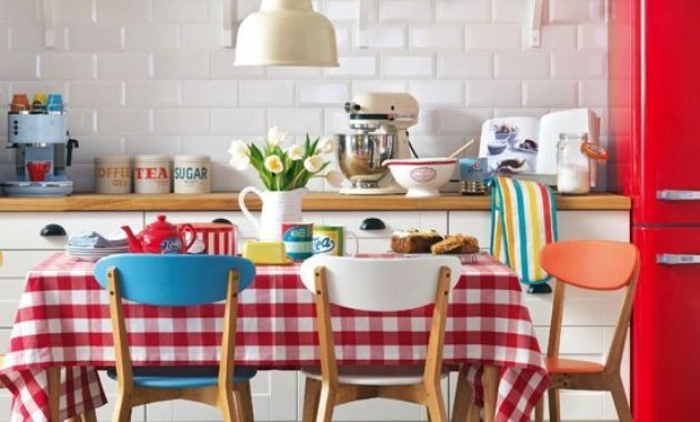 retro kitchen ideas classic wooden chair table 60s 70s 50s style ceiling light