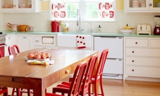 retro kitchen ideas classic wooden chair table 60s 70s 50s style wooden floor classic